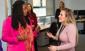 Dawn Butler, shadow women and equalities secretary, left, speaks to Chloe Prior of Dignity UK, during a visit to launch Labour's plan for women in the workplace, at the Business and Technology Centre, in Stevenage, Hertfordshire