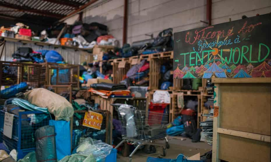 A warehouse run by charity L'Auberge des Migrants in Calais.
