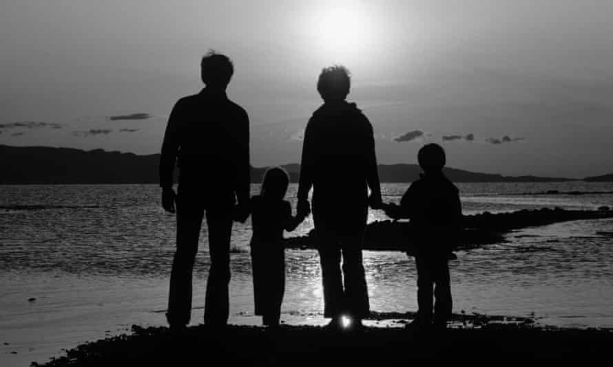 silhouette of anonymous family