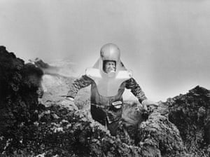 French volcanologist Haroun Tazieff during an eruption on Mount Etna, Sicily, in April 1966