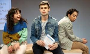 Patsy Ferran as Diwata, Douglas Booth as Howie and Tony Revolori as Solomon in Speech and Debate.