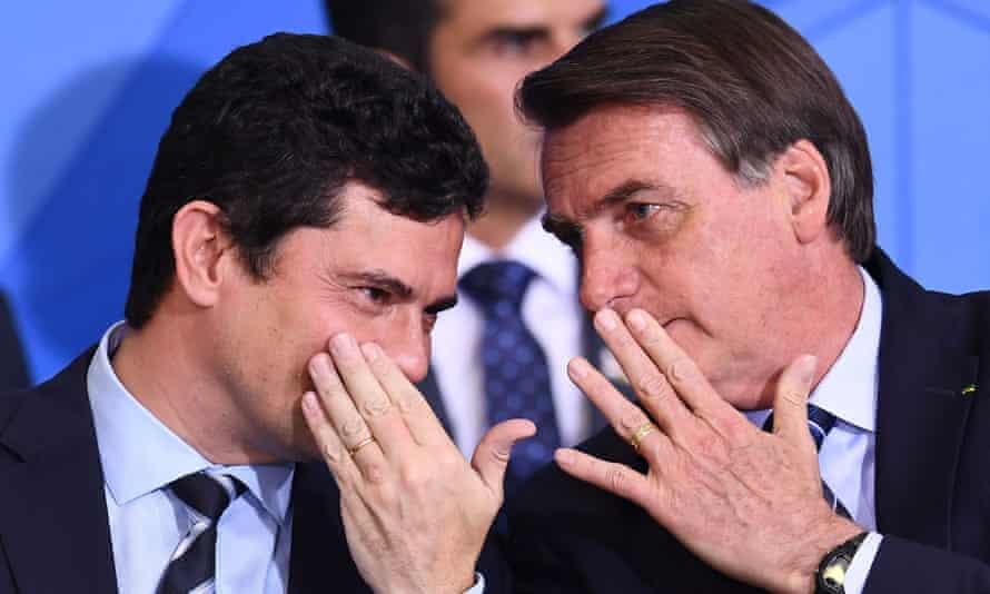 رئیس جمهور برزیل جائر بولسونارو و سرجیو مورو