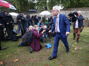 The Speaker of the House of Commons, John Bercow, on College Green in Westminster, announcing that the Commons will resume business from Wednesday