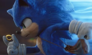 """This image released by Paramount Pictures shows Sonic, voiced by Ben Schwartz, in a scene from """"Sonic the Hedgehog ."""" (Paramount Pictures/Sega of America via AP)"""