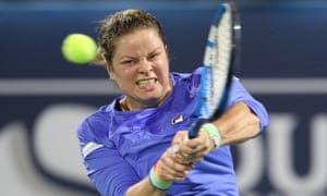 Kim Clijsters went down in two sets to Garbiñe Muguruza at the Dubai Championships but showed fight to take the second to a tie-break after going 3-0 down.