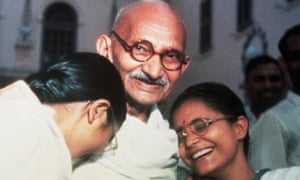 Mahatma Gandhi with his granddaughters in Delhi in 1947. Despite numerous nominations he never received the prize.