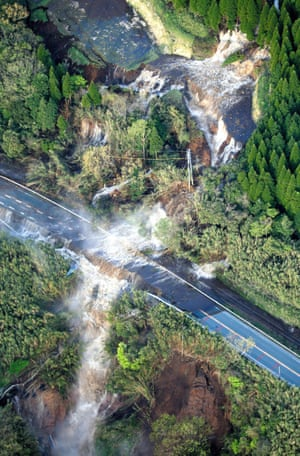 Water flows at a landslide site in Minamiaso