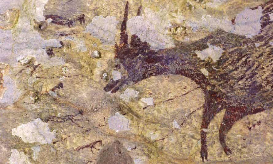 Detail of the the cave art discovered in Sulawesi