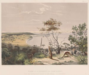 An 1846 engraving of a scene on the Coorong, near Lake Albert.