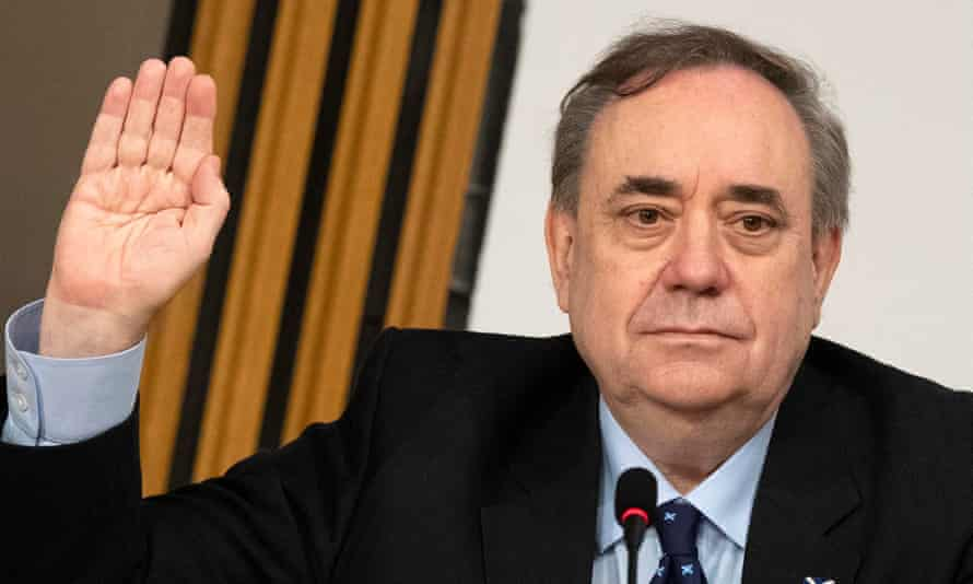 Alex Salmond is sworn in before the committee at Holyrood in Edinburgh.