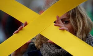 Berlin, Germany An Amnesty International activist takes part in a flashmob for human rights