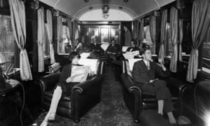 The first-class lounge on board a London Midland & Scottish Royal Scot train in 1928.