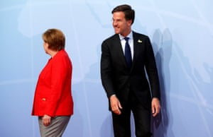 The Dutch prime minister, Mark Rutte, after being greeted by Merkel