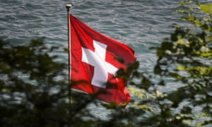 A Swiss flag above Lake Lucerne