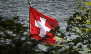 A Swiss flag above Lake Lucerne