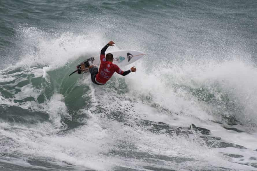 WSL (World Surf League) surfing competition in Taiwan in 2016. Pictured is Masatoshi Ohno