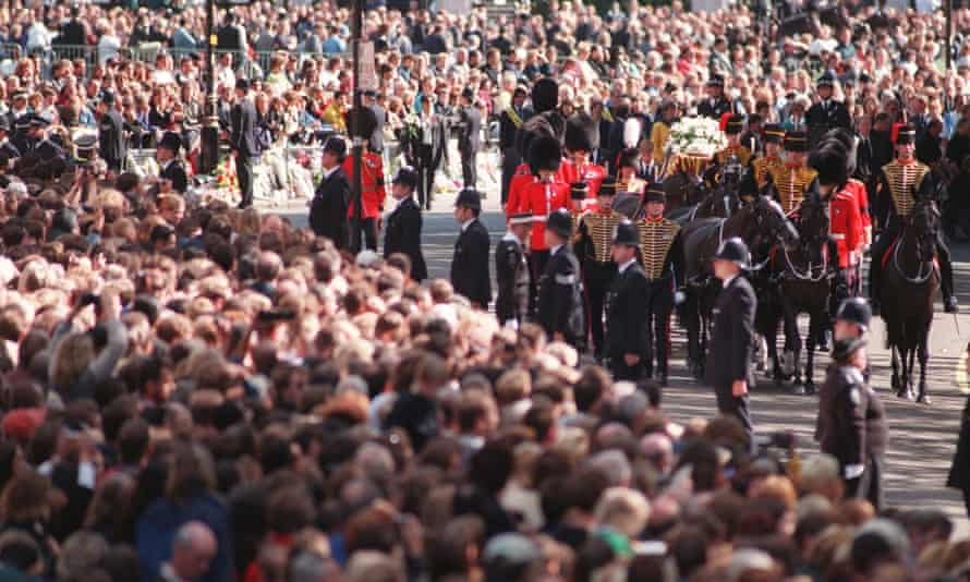 The funeral procession for Diana, Princess of Wales, in 1997