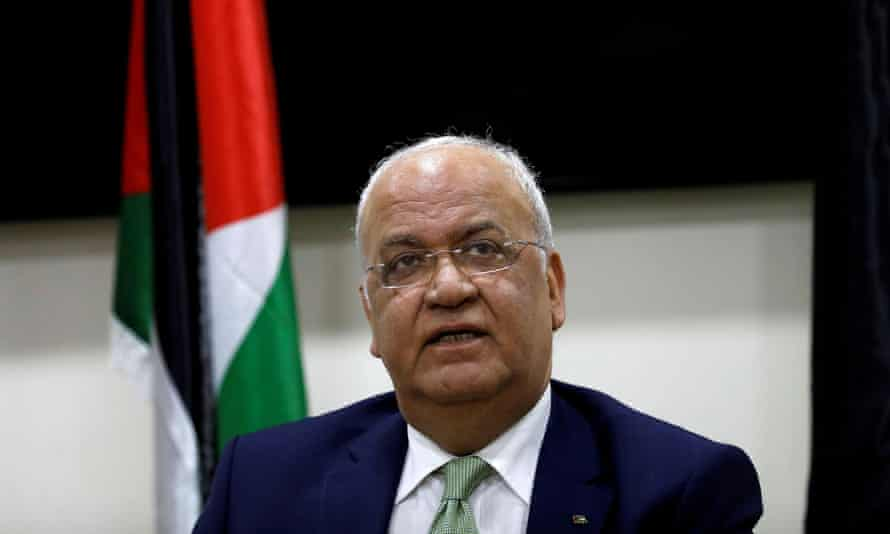 Saeb Erekat during a news conference in Ramallah last year.