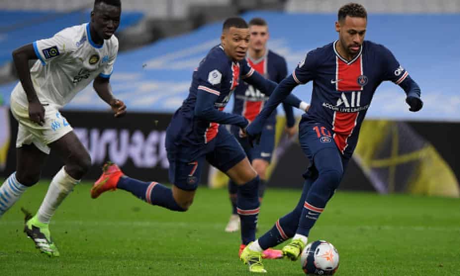 PSG's Neymar runs clear with the ball and with Kylian Mbappé in support