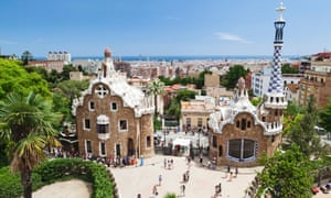 Park Güell, Barcelona. Anti-tourist graffiti has appeared nearby.