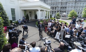 John Bolton speaks to the media in Washington.