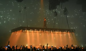 I want to take you higher … Kanye and his flying stage for the Saint Pablo tour.