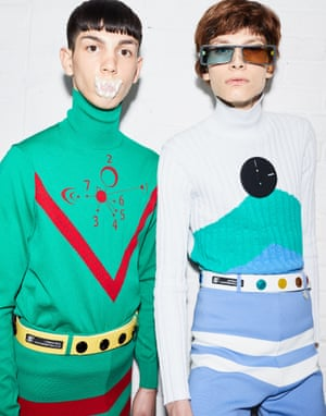 The show notes explained that Xander Zhou's collection was about A.I. and human evolution, modelled by regular men and genetically modified humans. Cue fleece tracksuits and futuristic sportswear, accessorised by dummies and feeding bottles.