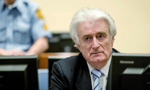 Radovan Karadžić in court at The Hague in 2016.