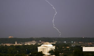 Lightning strikes above the Jefferson Memorial after a severe storm in Washington.
