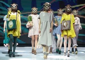 Minsk, Belarus Models showcase creations during a runway show for Belarusian designer Natasha Kostsova