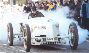 Building up a head of steam: Bob Dyke in the Whistling Billy which has a top speed of at least 70mph