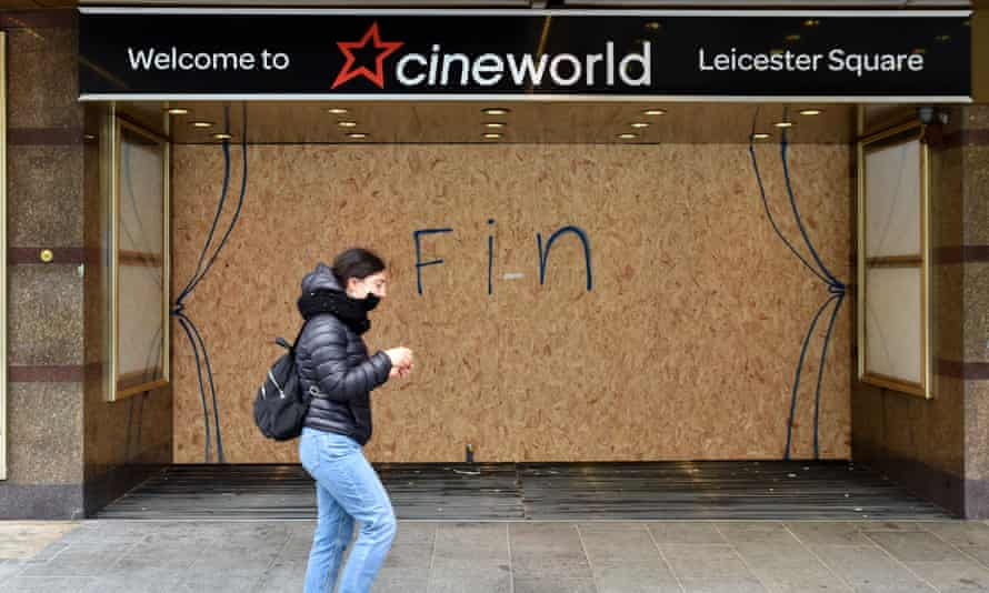 The words 'Fin' written on the boarded up entrance to the Leicester Square Cineworld cinema.
