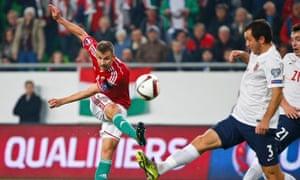 Hungary's Tamas Priskin scores the opening goal