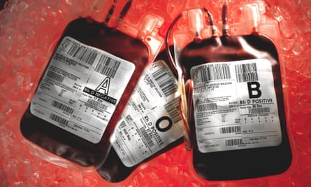 NHS blood bags on ice