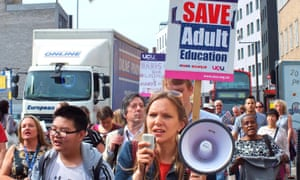 Protesters with 'Save adult education' placards in London