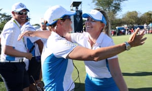 Matilda Castren of Team Europe hugs captain Catriona Matthew.