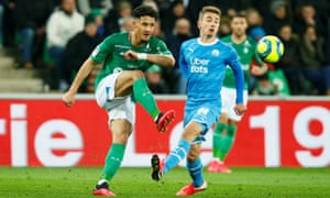 William Saliba (left) in action for Saint-Étienne against Marseille in February.