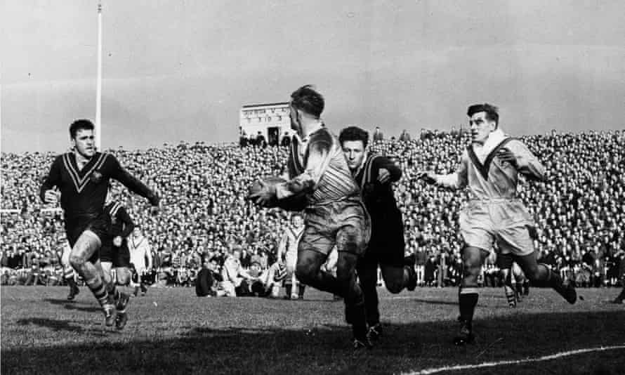 The first Great Britain v Australia rugby league to be televised in 1952.