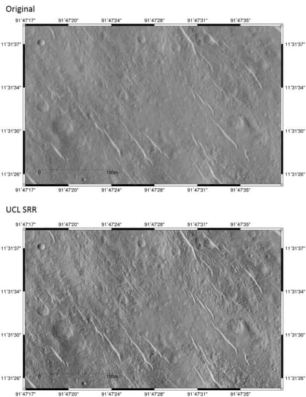 """The top image is one of the original HiRISE images. Below is the newly-created SRR image. The bright dot at approximately 91º47'28.5"""", 11º 31' 37"""" is thought to be the Beagle 2 lander."""