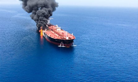 The crude oil tanker Front Altair on fire in the Gulf of Oman