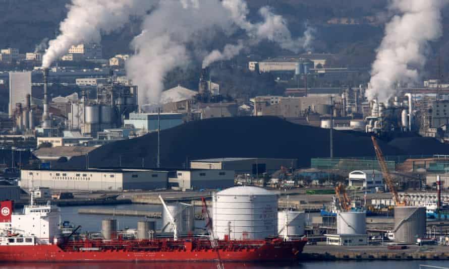 Coal stockpiled at Onahama port in Iwaki City, Fukushima, Japan.