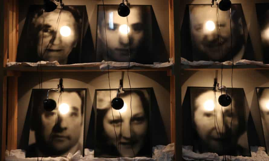 Images from Christian Boltanski's 1990 work The Reserve of Dead Swiss on display at the Pompidou Centre, Paris, 2019.