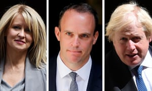 Conservative MPs Esther McVey, Dominic Raab and Boris Johnson.