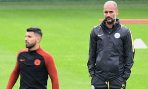 Manchester City's Pep Guardiola watches over Sergio Agüero at the City Football Academy, where the manager has allegedly blocked players from using Wi-Fi on their mobiles.