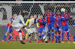 free kick taken by Manchester United's Paul Pogba.