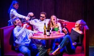 Simon Harrison (Jack), Daniel Weyman (Miles), Beth Cordingly (Terra) and Ellie Piercy (Maya) in Sideways by Rex Pickett @ St James Theatre. Directed by David Grindley.