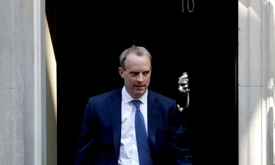 Dominic Raab leaving 10 Downing St