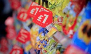 cut price crisps on a supermarket aisle