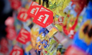 Packets of crisps on sale in a supermarket