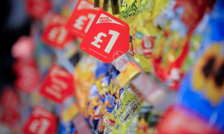 Supermarket shelves with price crunch price tags